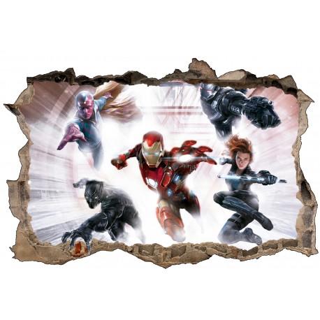 Stickers 3D La Panthère noir , iron man Avengers réf 52508
