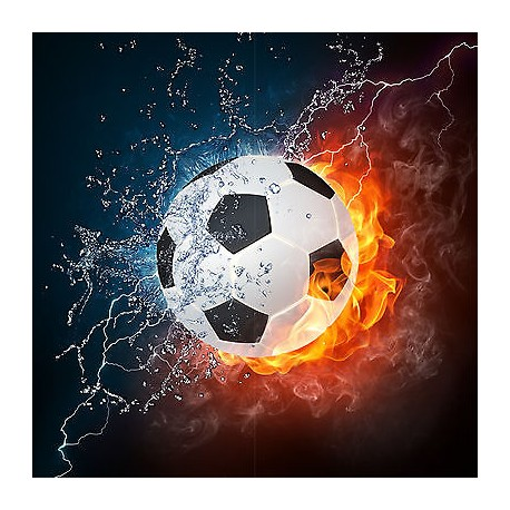 Sticker mural ballon de foot eau et feu 30x30cm