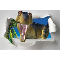 Sticker trompe l'oeil Dinosaure de face 120x80cm