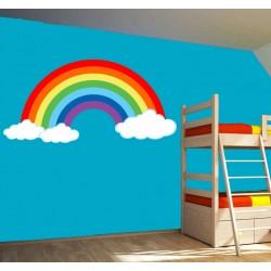 Stickers Arc en ciel nuages