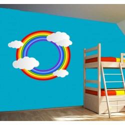 Stickers Arc en ciel rond et nuages