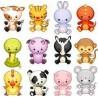 12 stickers enfant animaux 29x28cm