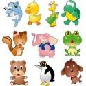10 stickers enfant bébé animaux 30x31cm