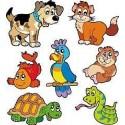 1 planche de 7 stickers enfant animaux E656