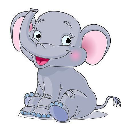 Sticker enfant Bébé éléphant hauteur 30cm réf 206
