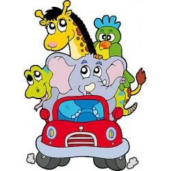 Sticker enfant Animaux en voiture