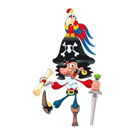 Sticker enfant Pirate Perroquet réf 819
