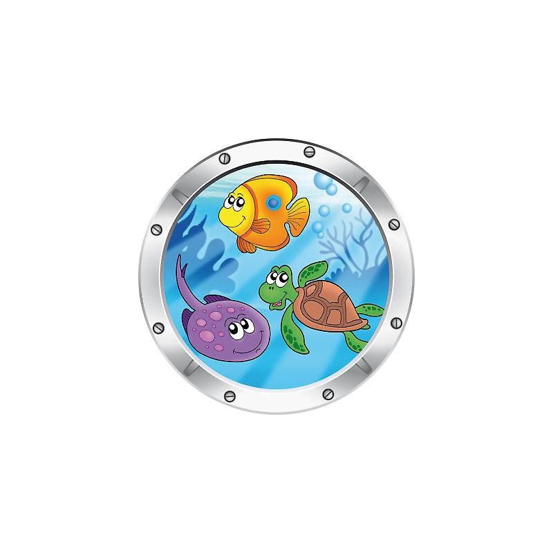 Sticker enfant trompe l 39 oeil poisson tortue raie r f027 stickers muraux enfant - Stickers muraux trompe l oeil ...