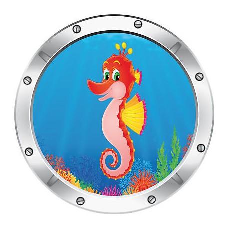 Sticker enfant trompe l'oeil hippocampe réf 028
