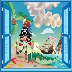 Sticker enfant Pirate fenêtre trompe l'oeil réf 924