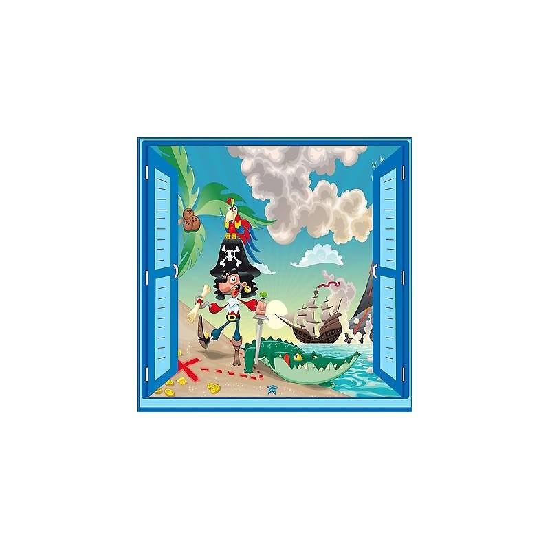 Sticker enfant Pirate fenêtre trompe l/'oeil réf 924