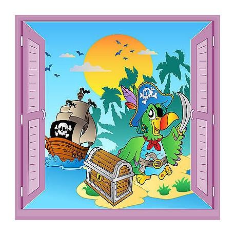 Sticker enfant Pirate fenêtre trompe l'oeil réf 927