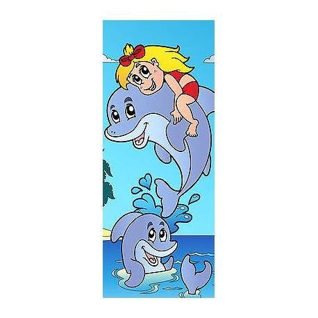 Sticker enfant Dauphin pour porte plane ou mural réf708