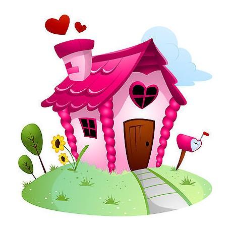 sticker enfant maison coeur r f 831 stickers muraux enfant. Black Bedroom Furniture Sets. Home Design Ideas