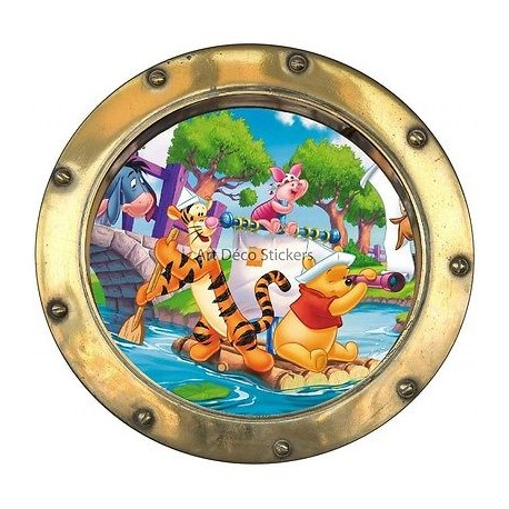 Sticker hublot enfant Winnie l' ourson et sa bande réf 9564