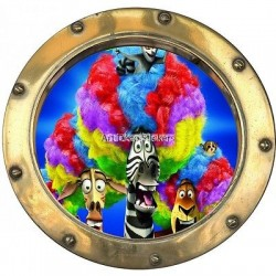 Sticker hublot enfant Madagascar 9522