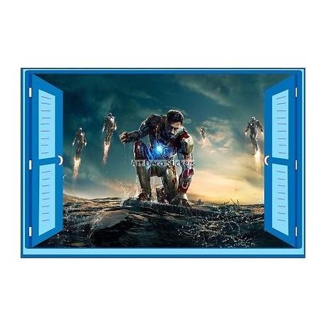 Sticker enfant fenêtre Iron Man réf 945 945