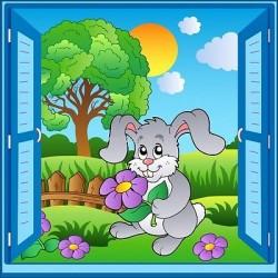 Sticker enfant fenêtre trompe l'oeil Lapin 919
