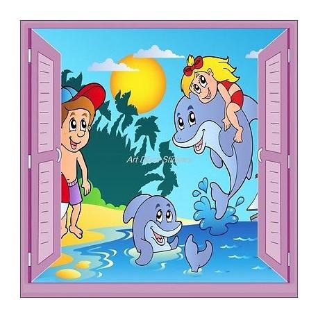Sticker enfant fenêtre trompe l'oeil Enfants Dauphin 915