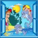 Sticker enfant fenêtre trompe l'oeil Enfants Dauphin 914