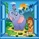 Sticker enfant fenêtre trompe l'oeil éléphant lion perroquet 913
