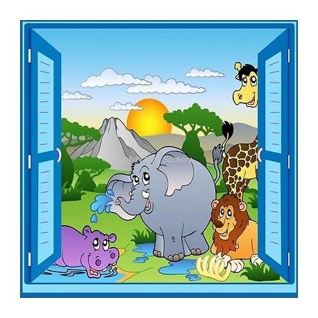 Sticker enfant fenêtre trompe l'oeil animaux safari 911