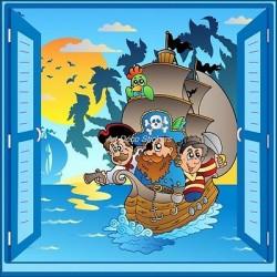 Sticker enfant fenêtre trompe l'oeil Bateau pirates 910
