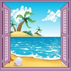 Sticker enfant fenêtre trompe l'oeil plage palmier 905