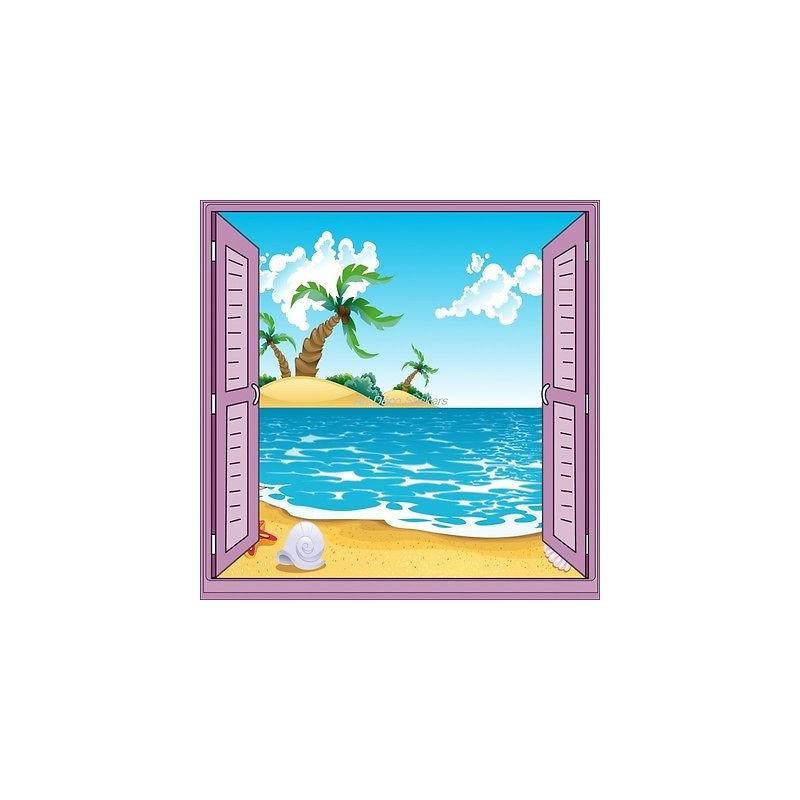 Sticker enfant fen tre trompe l 39 oeil plage palmier 905 for Plage stickers muraux