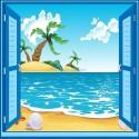 Sticker enfant fenêtre trompe l'oeil plage palmier 909