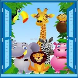Sticker enfant fenêtre trompe l'oeil animaux de la jungle 907