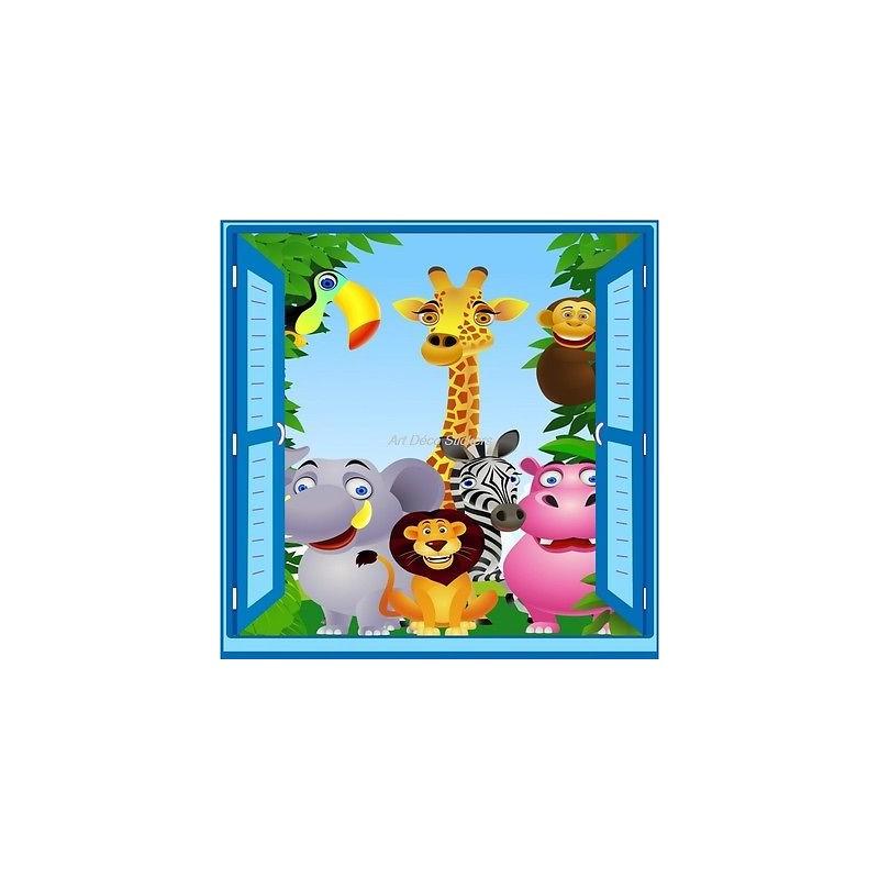 Sticker enfant fen tre trompe l 39 oeil animaux de la jungle 907 stickers muraux enfant - Stickers muraux trompe l oeil ...