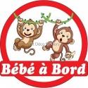 Sticker autocollant enfant Bébé à bord Singes 16x16cm réf 3575