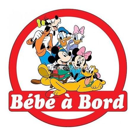 Sticker autocollant auto voiture Bébé à bord Mickey et ses amis 16x16cm réf 3572