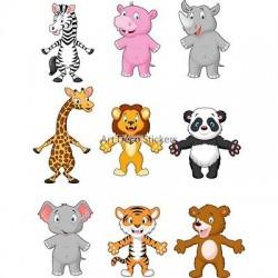 9 Stickers enfant Animaux 27x35cm 9510