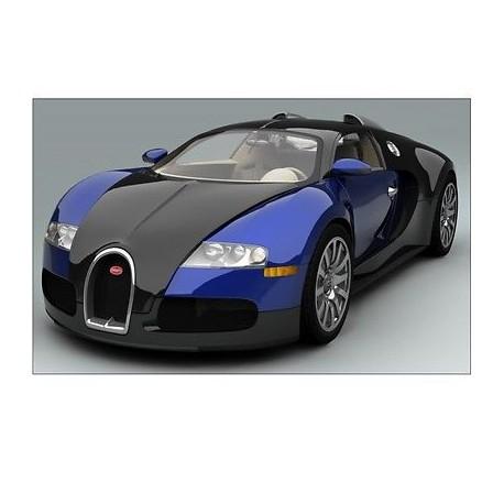 Sticker autocollant Voiture Bugatti Veyron Bleu Sport 132x82 cm Bugatti Veyron B