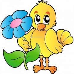 Sticker enfant Oiseau fleur 919