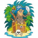 Sticker enfant Singe pirate 909
