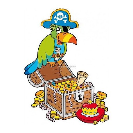 Sticker enfant Perroquet pirate 910