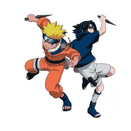 sticker Autocollant enfant Manga Naruto et Sasuke E076