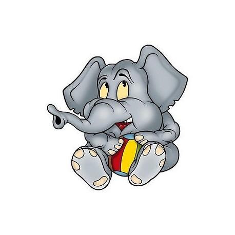 sticker Autocollant enfant Elephanteau gris E044