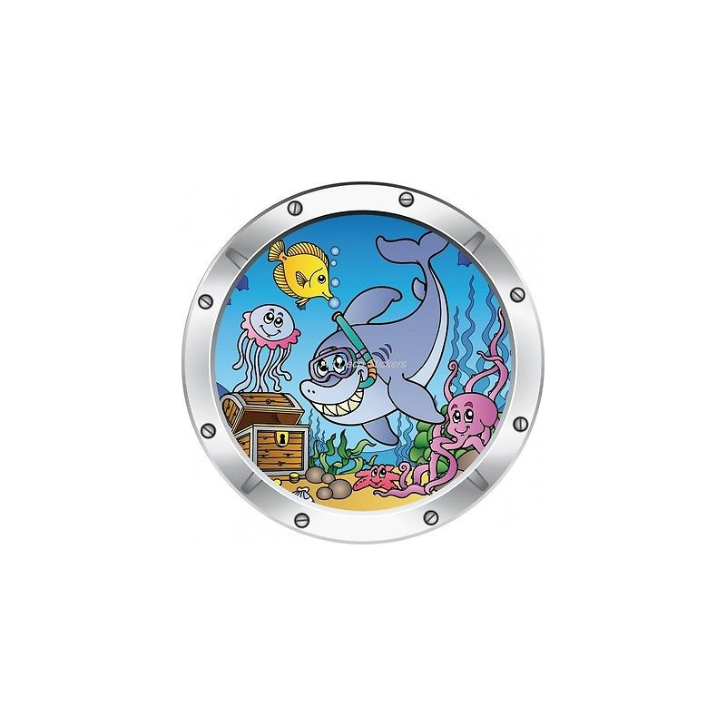 Sticker hublot enfant trompe l 39 oeil poisson dauphin 024 stickers muraux enfant - Stickers muraux trompe l oeil ...