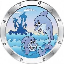 Sticker hublot enfant trompe l'oeil Dauphins 025