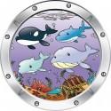Sticker hublot enfant trompe l'oeil Baleine 026