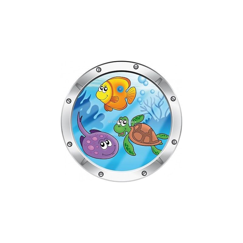 Sticker hublot enfant trompe l 39 oeil vue sous marine 027 stickers muraux enfant - Stickers muraux trompe l oeil ...