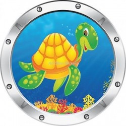 Sticker hublot enfant trompe l'oeil Tortue 031