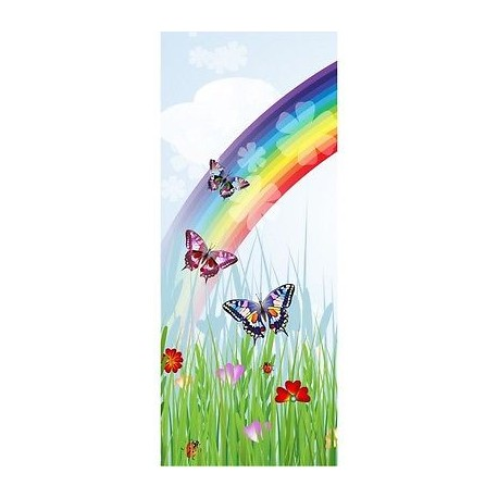 papier peint porte enfant papillons arc en ciel 1738 stickers muraux enfant. Black Bedroom Furniture Sets. Home Design Ideas