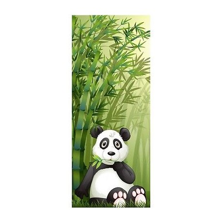 Papier peint porte enfant Panda Bambous 1732