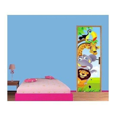 papier peint porte enfant animaux jungle 716 stickers. Black Bedroom Furniture Sets. Home Design Ideas