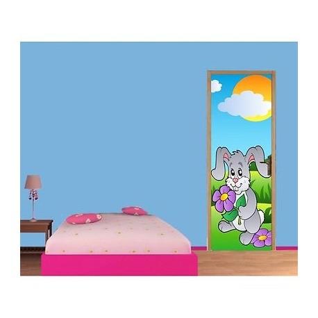 papier peint porte enfant lapin 709 stickers muraux enfant. Black Bedroom Furniture Sets. Home Design Ideas